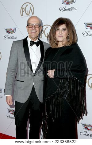 LOS ANGELES - JAN 20:  Donald De Line, Amy Pascal at the Producers Guild Awards 2018 at the Beverly Hilton Hotel on January 20, 2018 in Beverly Hills, CA