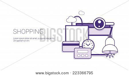 Shopping Commerce Purchase Online Technology Concept Banner With Copy Space Thin Line Vector Illustration