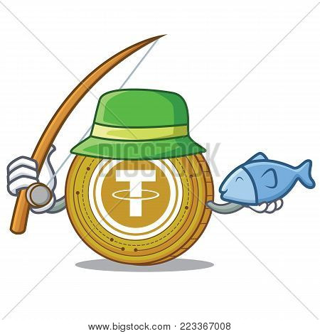 Fishing Tether coin mascot cartoon vector illustration