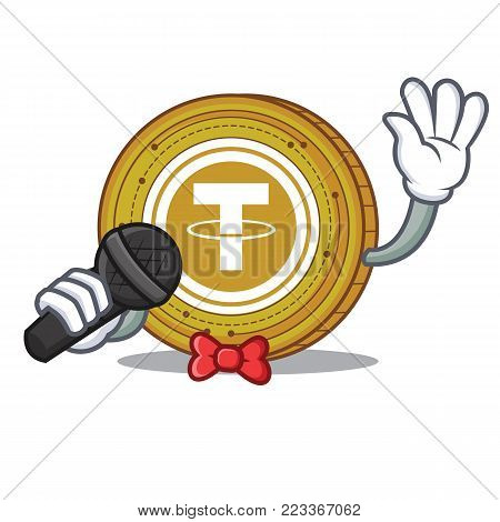 Singing Tether coin mascot cartoon vector illustration