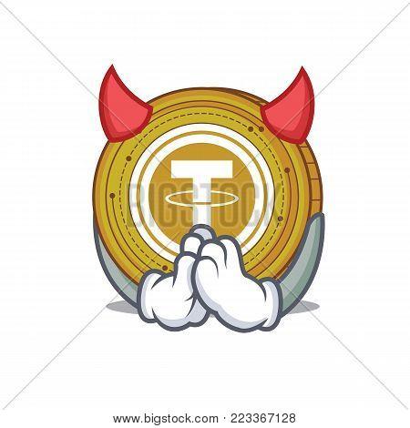 Devil Tether coin mascot cartoon vector illustration