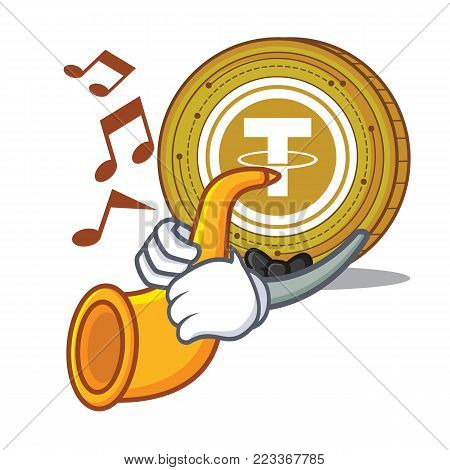 With trumpet Tether coin mascot cartoon vector illustration