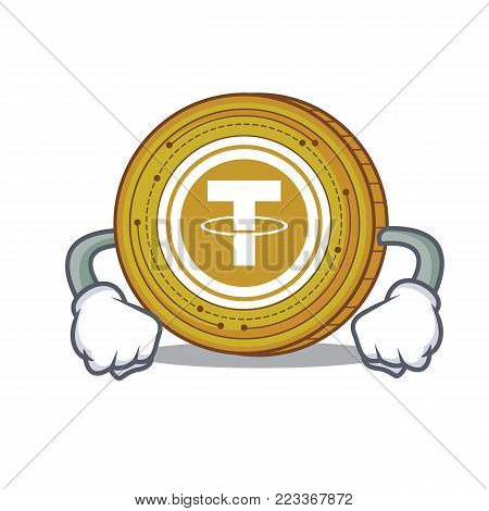 Angry Tether coin mascot cartoon vector illustration