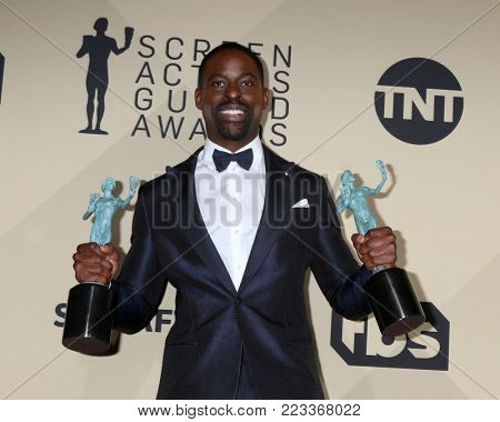 LOS ANGELES - JAN 21:  Sterling K Brown at the 24th Screen Actors Guild Awards - Press Room at Shrine Auditorium on January 21, 2018 in Los Angeles, CA