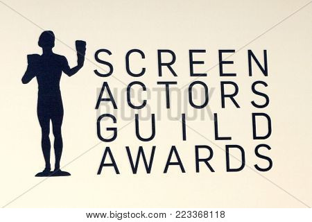 LOS ANGELES - JAN 21:  Screen Actors Guild Emblem at the 24th Screen Actors Guild Awards - Press Room at Shrine Auditorium on January 21, 2018 in Los Angeles, CA