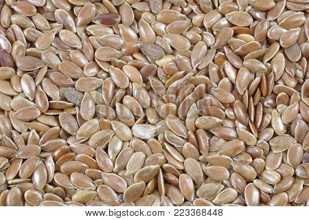 background from dry flax seeds close up