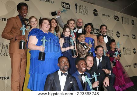 LOS ANGELES - JAN 21:  This Is Us Cast at the 24th Screen Actors Guild Awards - Press Room at Shrine Auditorium on January 21, 2018 in Los Angeles, CA