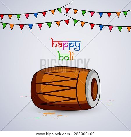 illustration of drum and decoration with happy Holi text on the occasion of Hindu Festival Holi