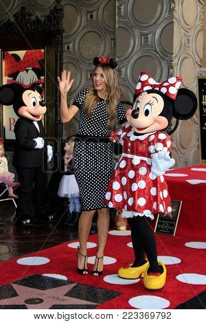 LOS ANGELES - JAN 22:  Mickey Mouse, Heidi Klum, Minnie Mouse at the Minnie Mouse Star Ceremony on the Hollywood Walk of Fame on January 22, 2018 in Hollywood, CA