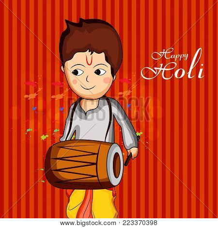 illustration of a boy playing drum with happy Holi text on the occasion of Hindu Festival Holi