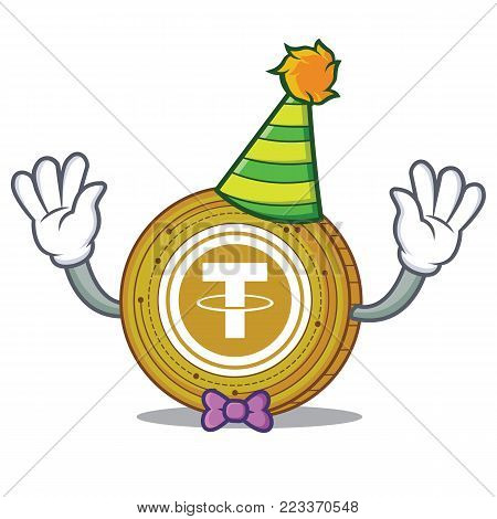 Clown Tether coin mascot cartoon vector illustration