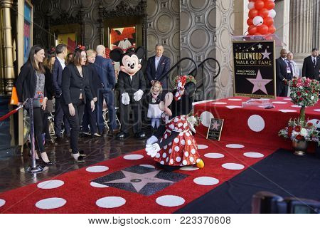 LOS ANGELES - JAN 22:  Mickey Mouse, Minnie Mouse at the Minnie Mouse Star Ceremony on the Hollywood Walk of Fame on January 22, 2018 in Hollywood, CA