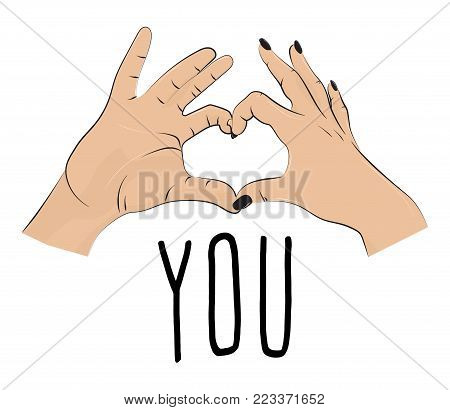 I love you romantic print. Valentines fingers heart gesture. Fingers together showing love and romance. typographic greeting card on Valentines day, wedding, date.