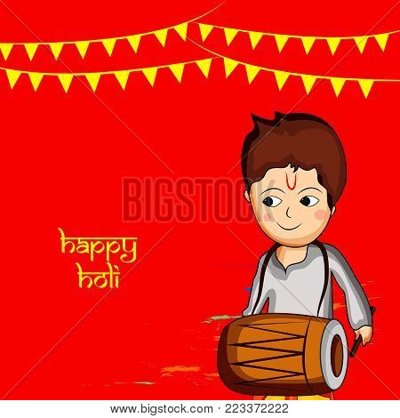 illustration of boy playing drum and decoration with happy Holi text on the occasion of Hindu Festival Holi