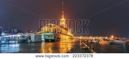 SOCHI, RUSSIA - JANUARY 11, 2018: Panoramic view of the seaport during the rain