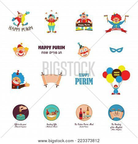 happy purim, jewish holiday. traditional icons, lettering and clowns. vector illustration