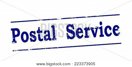 Rubber stamp with text postal service inside, vector illustration