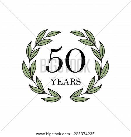 50th years anniversary with floral laurel wreath