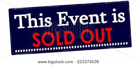 Rubber stamp with text this event is sold out inside, vector illustration