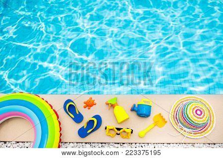 Pool And Beach Items Flat Lay. Summer Vacation.