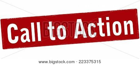 Rubber stamp with text call to action inside, vector illustration