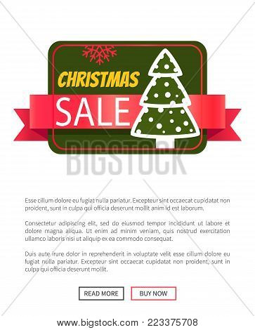 Christmas sale card with cute snowy new year tree vector illustration with text sample isolated on white and push-buttons, red ribbon bright snowflake