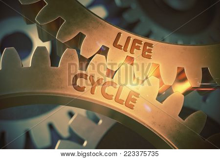 Golden Metallic Cog Gears with Life Cycle Concept. Life Cycle on the Mechanism of Golden Cogwheels with Glow Effect. 3D Rendering.