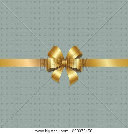 Golden bow knot on silk ribbon vector illustration decorative element isolated on grey dotted background. Satin gold thread, silk tape for your design