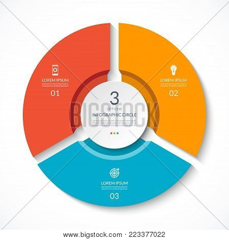 Infographic circle. Process chart. Vector diagram with 3 options. Can be used for graph, presentation, report, step options, web design.