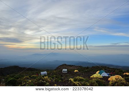 Beautiful landscape of the mt Kilimanjaro from Horombo hut at dawn. Horombo camp perched on a small plateau alt 3705m a total capacity of 120 climbers
