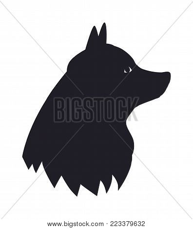 New Year symbol 2018 black dog silhouette isolated on white background. Cute pet head profile view, canine animal in dark color vector illustration poster