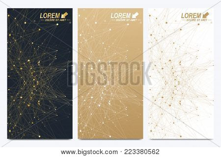 Modern golden set of vector flyers. Modern stylish polygonal pattern with connected line and dots. Molecule and communication background for medicine, science, technology, chemistry