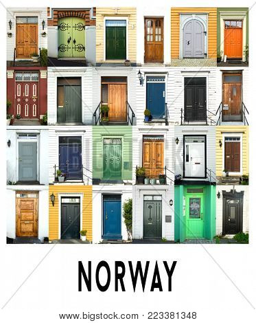 A collage of ancient doors from Bergen in Norway, presented in a white border with the city name Norway