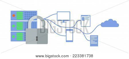 GDRP concept illustration. General Data Protection Regulation. The protection of personal data. Server and lock icon. Vector, isolated on white background.