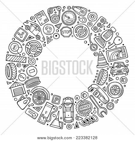Line art vector hand drawn set of Automobile cartoon doodle objects, symbols and items. Round frame composition