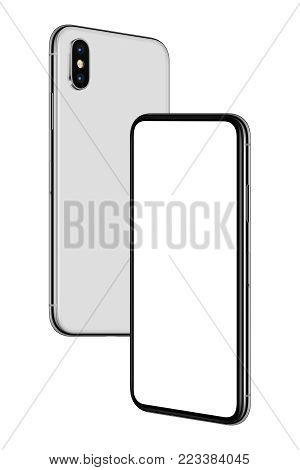 Soaring in the air similar to iPhone X smartphones mockup. New modern white frameless smartphones mockup with blank white screen and back side hovering in the air turned towards each other. Isolated on white background. 3D illustration.