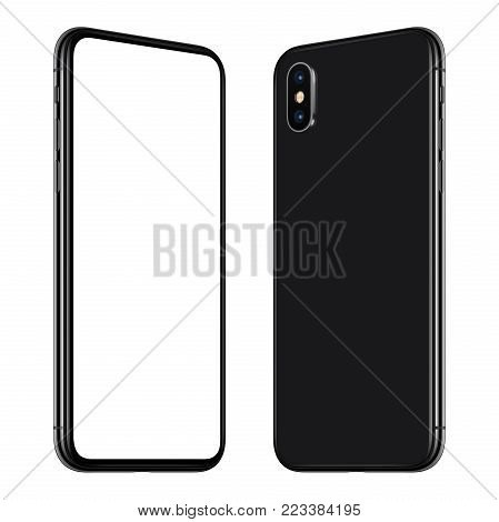 Similar to iPhone X rotated smartphone mockup front and back side. New modern black frameless rotated smartphone mockup with blank white screen and back side facing each other. Isolated on white background. 3D illustration.