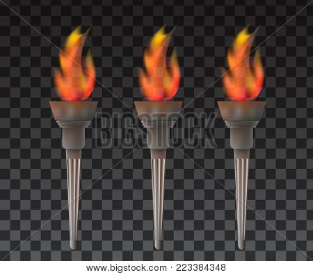 Torch With Flame. Flame and Torch realistic
