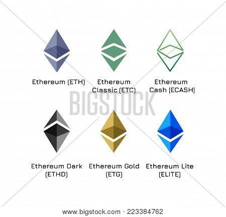 Varieties of vector logos of cryptocurrency. Ethereum (ETH), Ethereum Classic (ETC), Ethereum Cash (ECASH), Dark (ETHD), Gold (ETG), Lite (ELITE)