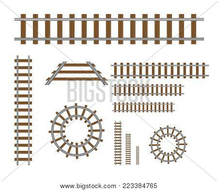 Straight and curved railroad set. Straight rails vector
