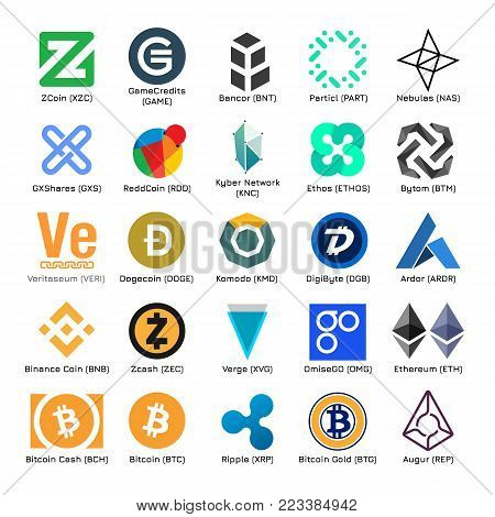 Set of vector logos of popular crypto currency on isolated white background. Icons for cryptocurrency