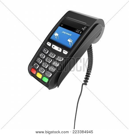 card payment terminal POS terminal isolated on white background 3d render