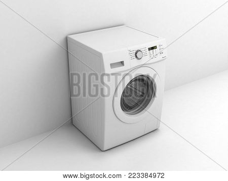 Washing machine on a white wall background 3d illustration