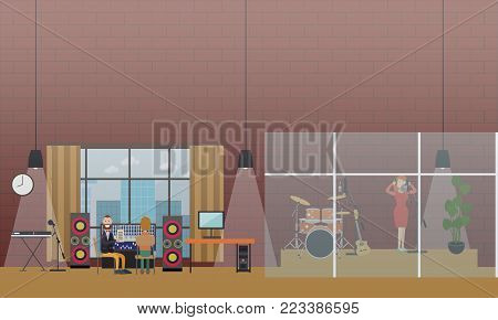 Vector illustration of singer female in headphones singing in the microphone at radio studio. Voice recording for radio broadcast flat style design elements.