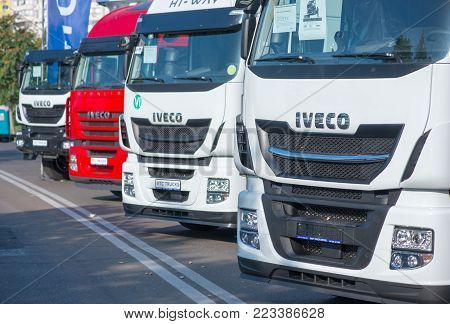Galati, Romania - September 2, 2017. Iveco Stralis Sign In Front Of A Truck On An Outdoor Exhibition