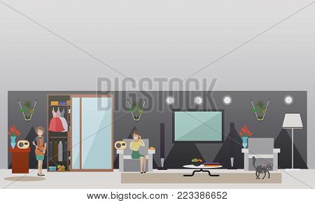 Vector illustration of housewife listening to radio while washing flooring with sponge mop, woman calling in to radio station while sitting on sofa. Call-in radio programme concept flat style design.