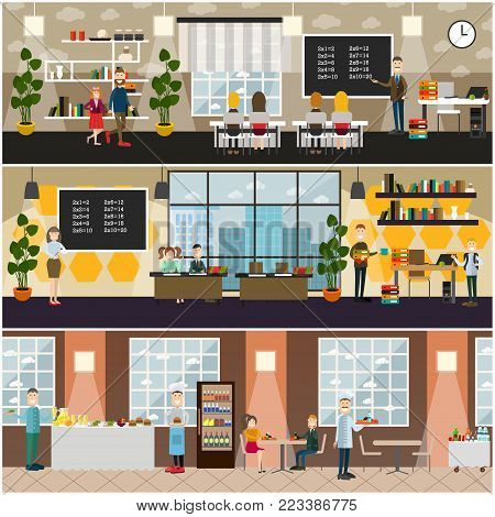Vector set of posters with teachers and school children, classroom interior with furniture and supplies, school canteen with dining furniture food and drink. School concept flat style design elements.