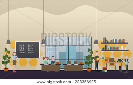 Vector illustration of teachers and school children, classroom interior with furniture and supplies. School concept flat style design elements.