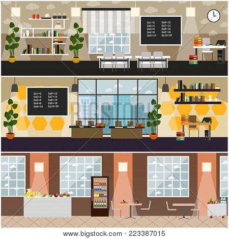 Vector set of posters with classroom interior with furniture and supplies, school canteen with dining furniture, food and drink. School concept flat style design elements.