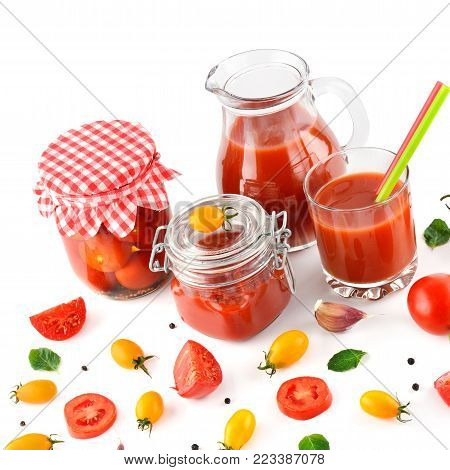 Tomato juice, ketchup and tomato isolated on white background. Flat lay, top view.